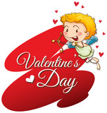 Velentine card template with cute cupid - 187564231
