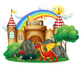 Red dragon at the castle tower - 187564237