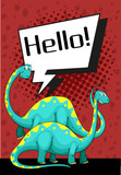 Poster design with dinosaur saying hello - 187564249