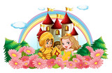 Knight and princess in flower garden