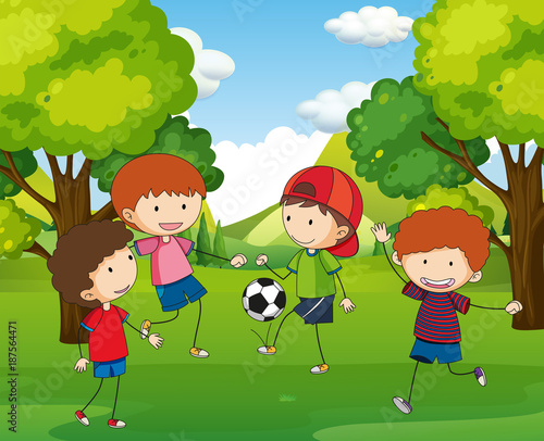 Papiers peints Pistache Boys playing football in the park