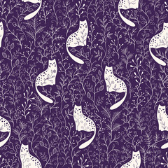 Seamless floral vector pattern with white cats