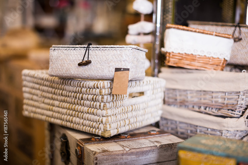 Image of design boxes for apartment in decor shop