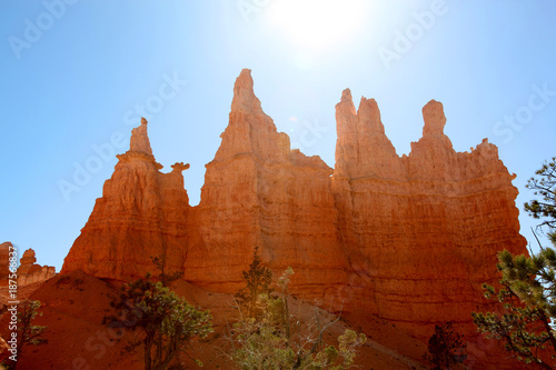 Poster Rood paars Bryce Canyon hoodoos silhouetted against a bright blue sky