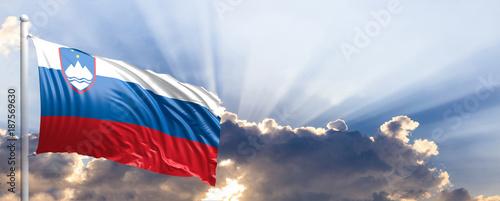 Slovenia flag on blue sky. 3d illustration