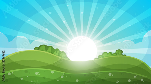 Plexiglas Pool Cartoon landscape - abstract illustration. Sun, ray, glare, hill, cloud.