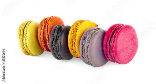 Poster Macarons Sweet and colourful french macaroons or macaron on white background