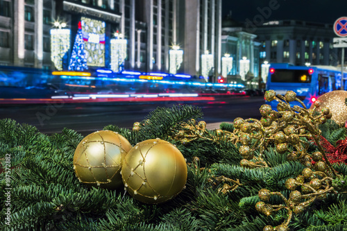 Foto op Aluminium Moskou decorations for the holiday of new year and Christmas on the streets of Moscow