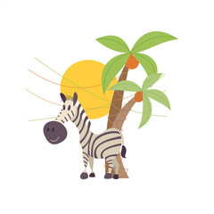 Striped Zebra stith under the palm trees. The African animals. Vector illustration. Isolated on a white background.