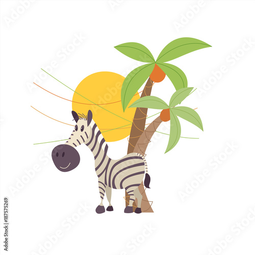 Striped Zebra stith under the palm trees. The African animals. Vector illustration. Isolated on a white background. - 187575269