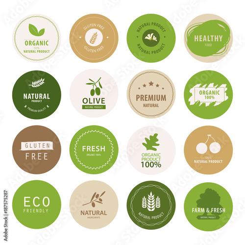 organic natural label and tag bannner. badge and ribbon green color.