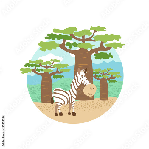 Poster Africa. Animals and nature of Africa. Cute Zebra standing in the background of baobabs. Vector illustration. Isolated on a white background.