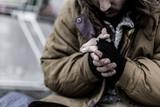 Close-up of dirty beggar's hands - 187575639