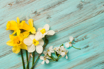 spring flowers on a wooden background, narcissuses. Calendar for the designer.