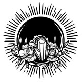 Morning crystal with peony flowers. Beautiful illustration with crystal quartz, sun and flowers. - 187582221