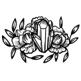 Crystal with peony flowers. Beautiful illustration with crystal quartz and flowers. - 187582231