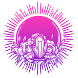 Morning crystal with peony flowers. Beautiful illustration with crystal quartz, sun and flowers. - 187582246