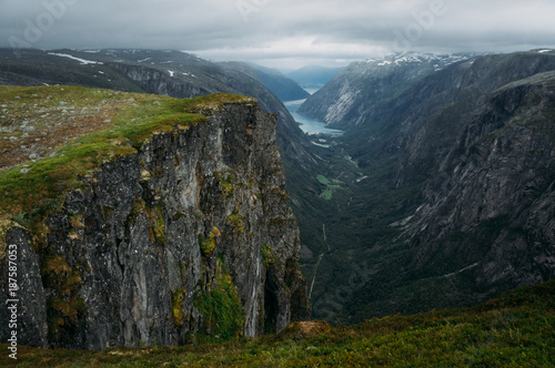 Foto op Plexiglas Gras view of rocks and grassy cliff, mountain river on background, Norway, Hardangervidda National Park