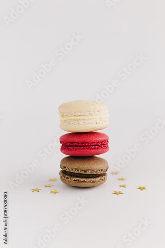 Fotobehang Macarons cakes macarons in a pyramid, on a white background