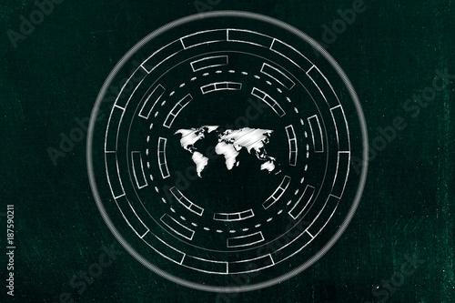 Fotobehang Wereldkaarten world map surrounded by abstract technology cyberspace mechanism