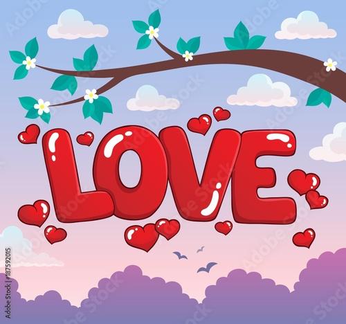 Deurstickers Voor kinderen Word love theme image 3