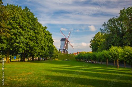 Fotobehang Brugge Windmill in Brugge, Belgium