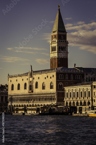 View of Venice, St. Mark's Square and church tower and the lagoon, Italy