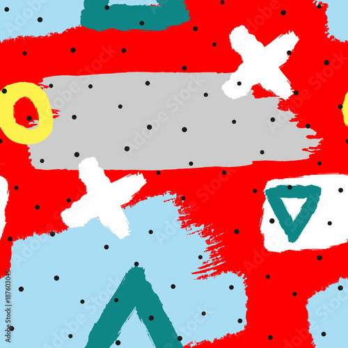Materiał do szycia Abstract seamless pattern with geometric shapes and watercolor brushstrokes. Grunge, graffiti, sketch, doodle.  Red, gray, blue, white, yellow.