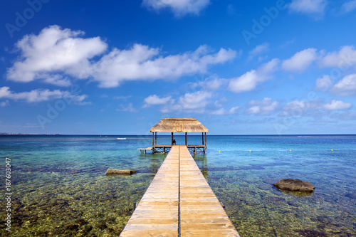 Indian Ocean with jetty in Mauritius Island - 187603047