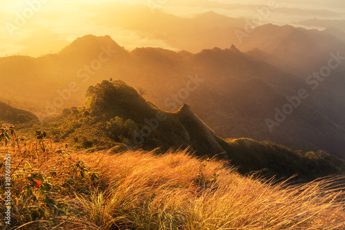 View of sunrise in early morning on Phu Chi Dao or Phu Chee Dao mountain at Chiang Rai, Thailand