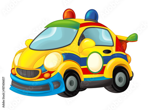Cartoon funny looking sports car - illustration for children - 187606657