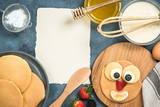 Recipe and ingredients for pancakes with funny face for kids - 187608276