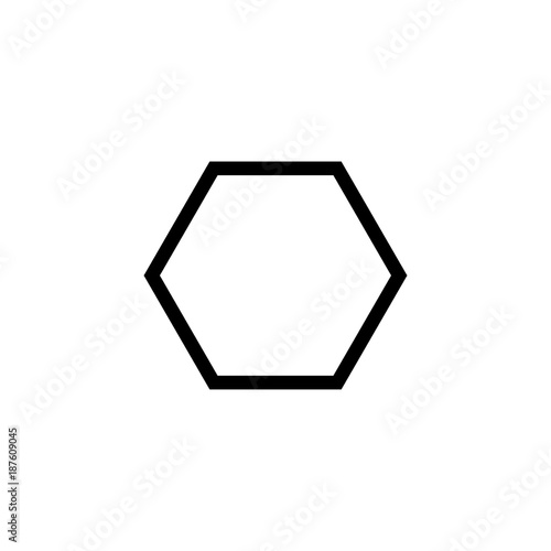 Hexagon geometrical shape vector icon - 187609045