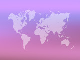 Partly transparent World map silhouette on pink gradient mesh background. Vector illustration. - 187609210