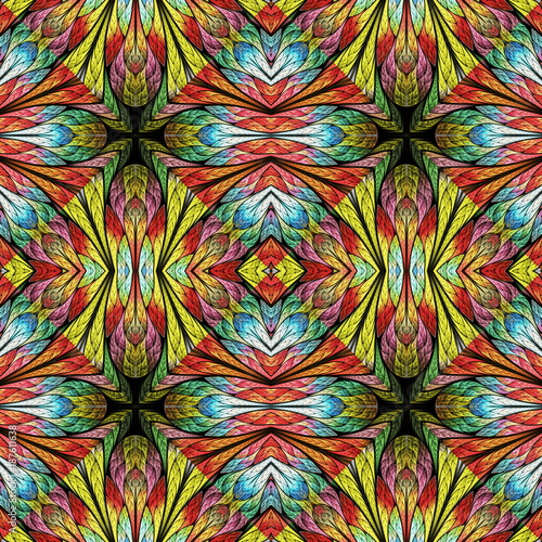 Multicolored floral pattern in stained-glass window style. You can use it for invitations, notebook covers, phone cases, postcards, cards, wallpapers and so on. Artwork for creative design. - 187611638