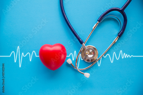 Foto Murales stethoscope and red heart with cardiogram