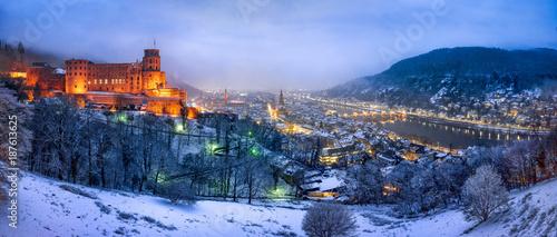 Fridge magnet Heidelberg Panorama im Winter mit Schloss und Altstadt