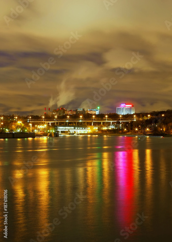 Aluminium Moskou Moscow, night, river