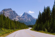 Scenic Icefields Parkway highway in Rocky Mountains, Alberta, Canada on sunny day