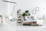 White hammock in bedroom interior - 187620862