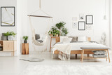White and beige bedroom interior