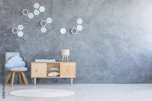 Foto Murales Kind room with hexagon decoration