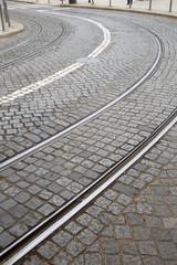 Curve on Tram Track; Lisbon