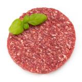 Raw fresh hamburger meat isolated on white. - 187627278