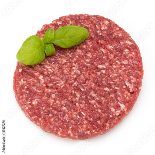 Raw fresh hamburger meat isolated on white. - 187627278