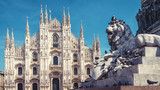 Lion and Milan Cathedral in Milan, Italy