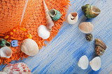 beach accessories glasses hat cockleshells - 187630613
