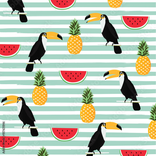 Fototapeta Pineapple, watermelon and toucan with stripes seamless pattern background. Tropical poster design. Summer and holidays background. Wallpaper, invitation card, textile print vector illustration design