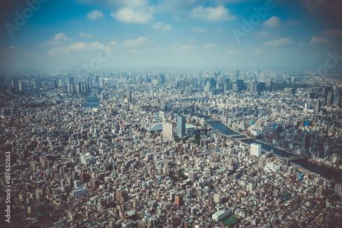 Poster Tokio Tokyo city skyline aerial view, Japan