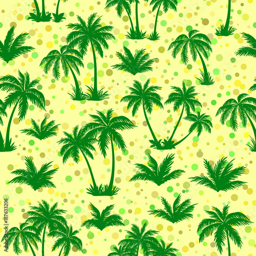 Poster Groene Exotic Seamless Pattern, Tropical Landscape, Palms Trees Green Silhouettes on Abstract Tile Background. Vector